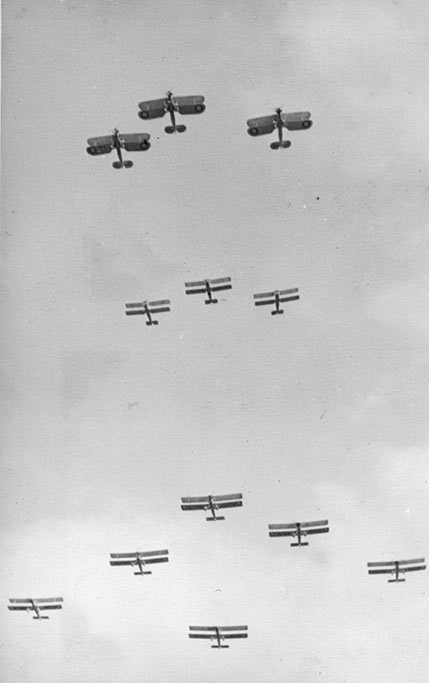 Three Blackburn Baffins, three Avro 626s and six Vickers Vildebeests from RNZAF Wigram perform a flypast over Christchurch on Anzac Day in 1939. Image credit: ©RNZAF Official ALB8553835c