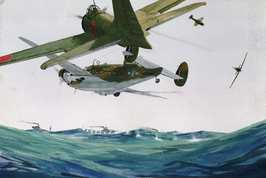 Watercolour on paper. The art work was painted by SQDNDR John K Barry MBE, who was appointed Commanding Officer in Charge of the RNZAF Historical Centre in 1978 and was the first director of the Air Force Museum of New Zealand until February 1993.