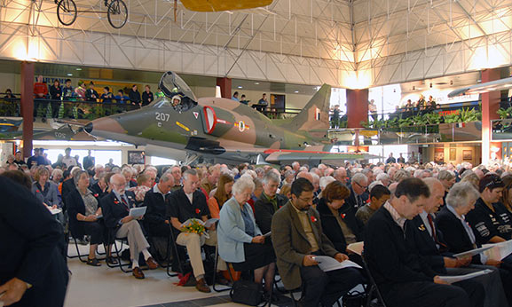 Veterans and other members of the public gathered in the Air Force Museum Atrium for the Anzac Day service in 2007. Image credit: ©Air Force Museum of New Zealand MUS0701510
