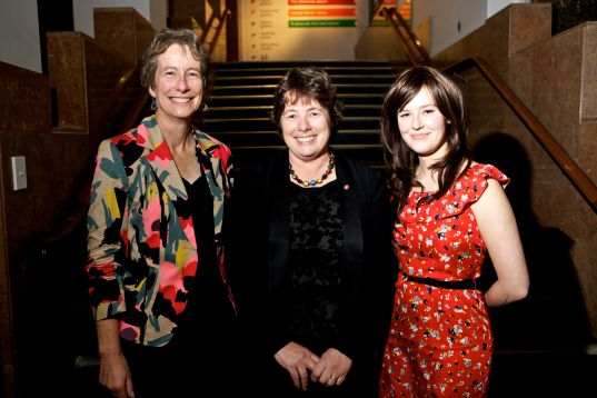 Museums Aotearoa Chair, Thérèse Angelo, with Executive Director Phillipa Tocker (left) and Membership Services Manager, Sophie de Lautour Kelly, 2012. Image: Museums Aotearoa.