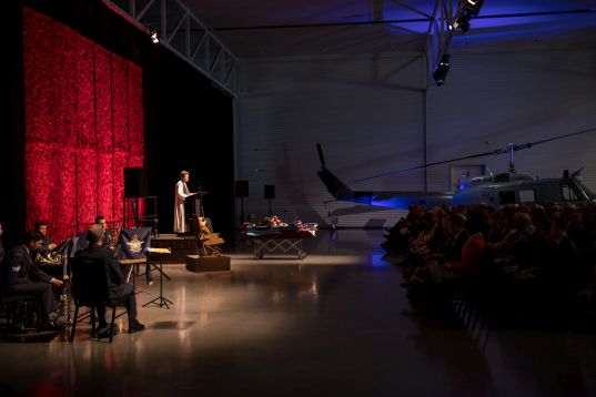 RNZAF Principal Chaplain, Di Woods, officiating at Thérèse's funeral service on 23 October 2018. Image: NZDF Official. Funeral service for the Director of the Air Force Museum, Therese Angelo, held at the Air Force Museum in Wigram.