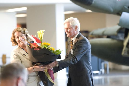 With the Chairman of the Museum Trust Board, Air Vice-Marshal Peter Adamson (Retd.) at the opening of the Museum's new extension, 2013. Image: NZDF Official.