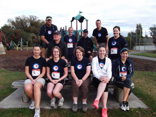 Thérèse with some of the Museum staff at the Christchurch Star 'City 2 Surf' fun run and walk, 2013.