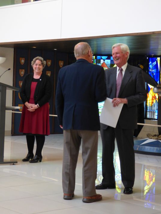 Thérèse looking on as the Chairman of the Museum Trust Board, Air Vice-Marshal Peter Adamson (Retd.), recognises the service of one of our volunteer guides at the annual volunteers' dinner, 2016.