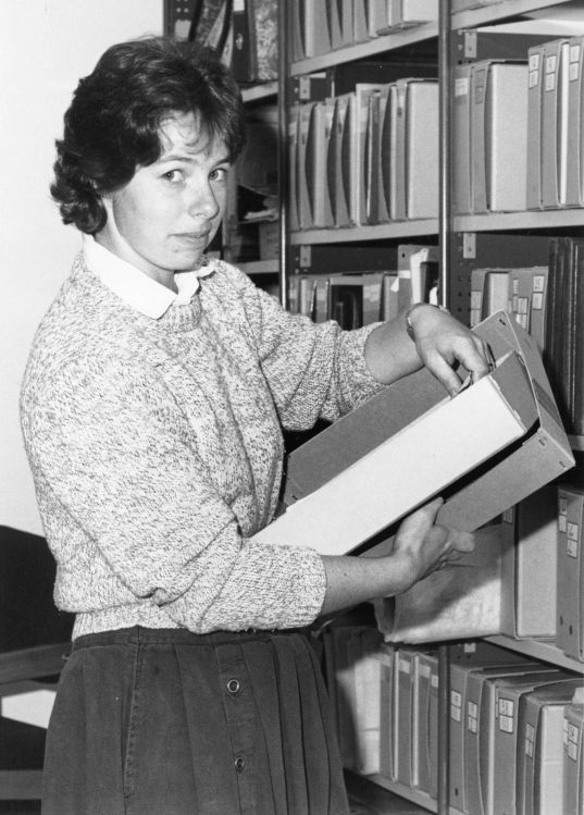 Thérèse in her role as Research Officer, 1987.