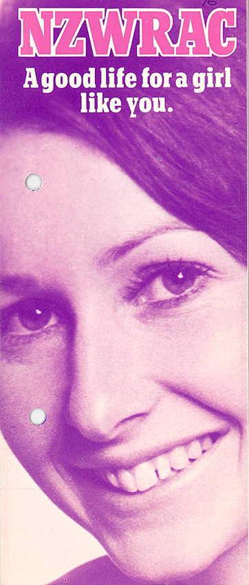 This pre-integration recruitment brochure was used to recruit women for the New Zealand Women's Royal Army Corps (NZWRAC).