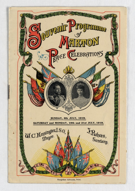 Programme for Marton Peace Celebrations, 8 July 1919. From the collection of the Air Force Museum of New Zealand.
