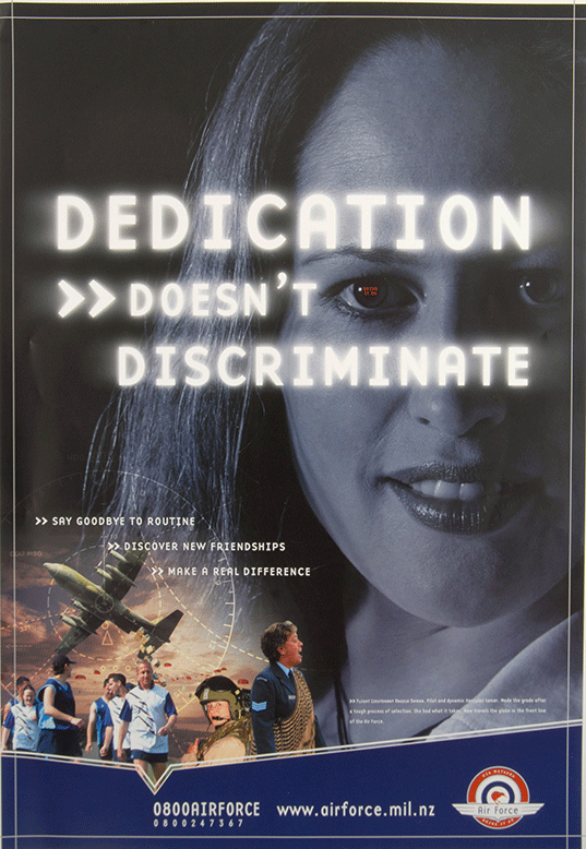 """This A2-sized RNZAF poster from the 2000's emphasises that """"Dedication Doesn't Discriminate"""". It features Flight Lieutenant Angela Swann-Cronin (née Swann), who made history in 1997 as the first Māori woman (Ngāti Porou and Rongowhakaata) to qualify as a pilot with the RNZAF."""