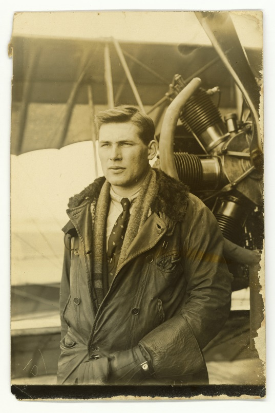 Ross Brodie on his graduation as a pilot at the Canterbury Aviation Company, Sockburn, 1917. From the collection of the Air Force Museum of New Zealand.