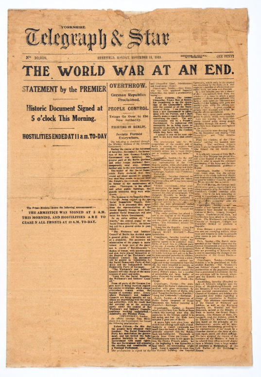 Yorkshire Telegraph and Star newspaper, 11 November 1918. Newspapers across the British Empire heralded the joyous news of the Armistice. From the collection of the Air Force Museum of New Zealand.