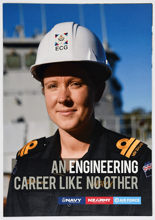 Fastforward to 2018, and this Tri-Service recruiting pamphlet features a female naval engineer on the cover. It describes the various kinds of military engineers, including the two different engineering roles in the Navy: Weapon Engineer Officer (WEO) and Marine Engineer Officer (MEO).