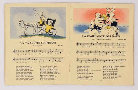 Songs from the 'Chansons de la BBC' Songbook, showing the illustrations, melody, and lyrics. From the collection of the Air Force Museum of New Zealand.