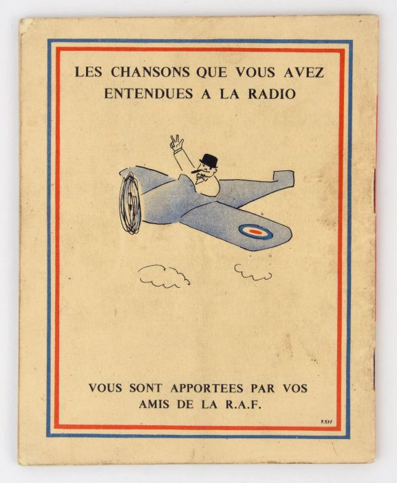 Songbook 'Chansons de la BBC' [back cover]. From the collection of the Air Force Museum of New Zealand.
