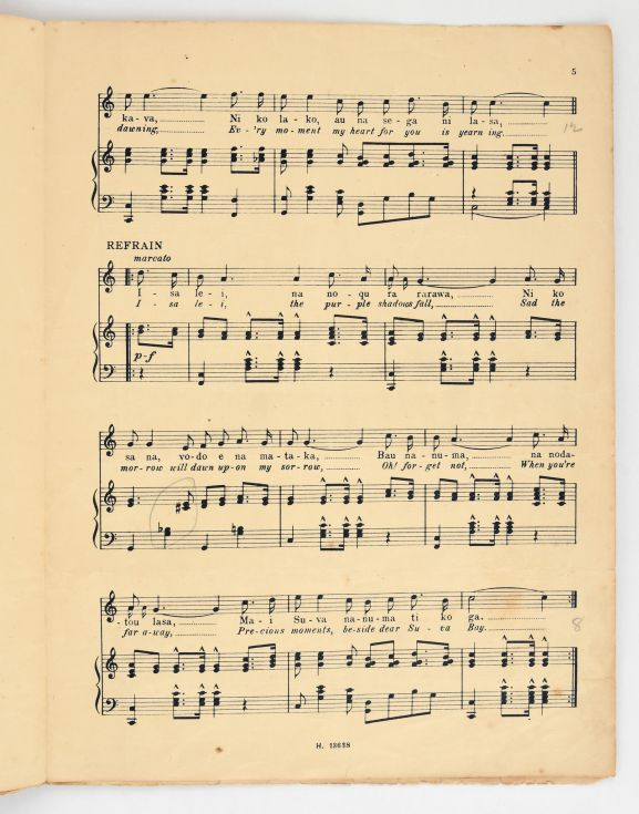 'Isa Lei – a Fijian Melody' sheet music showing the melody and the lyrics. From the collection of the Air Force Museum of New Zealand.