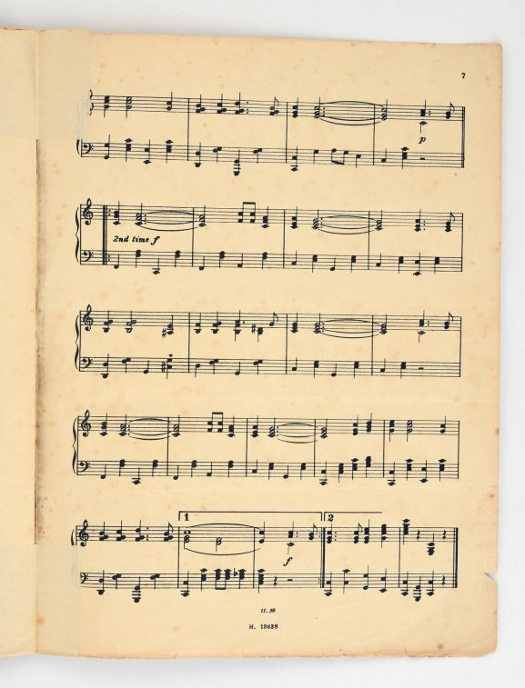 'Isa Lei – a Fijian Melody' sheet music showing the arrangement of the song into a foxtrot to be danced. From the collection of the Air Force Museum of New Zealand.