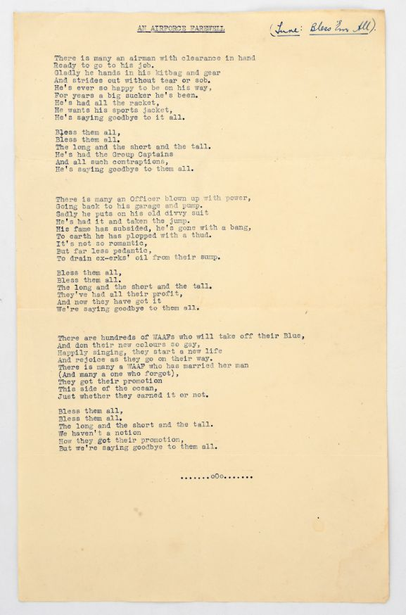 "'An Air Force Farewell""'Music Lyrics, a parody of 'Bless 'em All.'  From the collection of the Air Force Museum of New Zealand."
