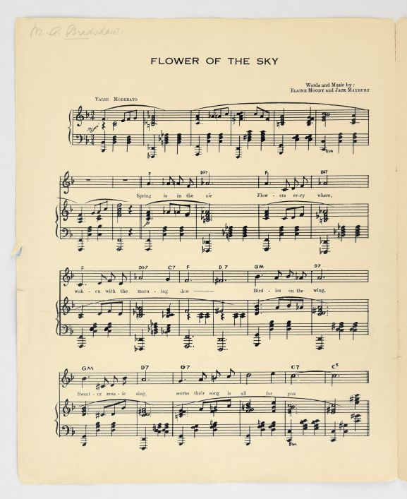 'Flower of the Sky' sheet music showing the melody and the lyrics. From the collection of the Air Force Museum of New Zealand.