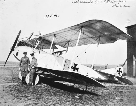 "Caldwell describes this photograph in his album ""DFW. Used mainly for artillery fire observation."" Deutsche Flugzeug-Werke (DFW) manufactured aircraft in Germany from 1910 until just after World War One. Image from the K. L. Caldwell personal album collection."