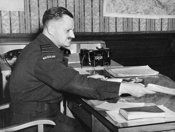 Group Captain Ronald Cohen, Senior Air Staff Officer of No. 46 Group during the Berlin Airlift, Buckeburg, Germany. From the collection of the Air Force Museum of New Zealand.