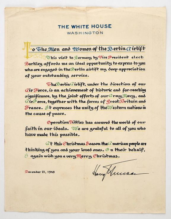 Letter of appreciation from the White House to those taking part in the Berlin Airlift. Christmas 1948. From the collection of the Air Force Museum of New Zealand.