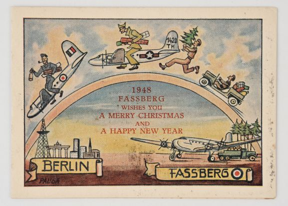1948 Christmas card from RAF Fassberg, Germany. The cover illustrates the air bridge from Fassberg to Berlin. From the collection of the Air Force Museum of New Zealand.