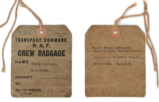 Baggage label used by Group Captain Ronald Cohen when travelling to RAF Buckeburg in Germany. From the collection of the Air Force Museum of New Zealand.