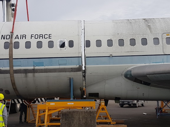 Fuselage of NZ7272 separated after the cut by Airbus, 1 May 2019. Image courtesy of RNZAF Base Woodbourne staff.