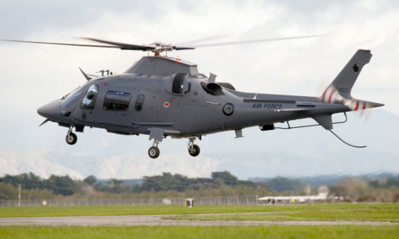 The RNZAFs new training helicopter, the A-109, lifts off from RNZAF Base Ohakea on its first test flight.