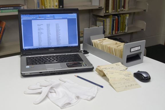 Laptop with index cards. Image: Air Force Museum of New Zealand.