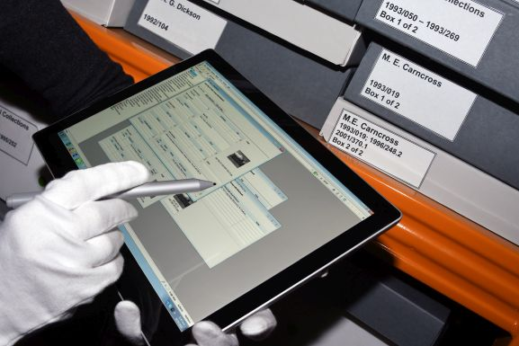 Vernon, a collection management system on a tablet. Image: Air Force Museum of New Zealand.