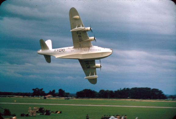 Sunderland NZ4111, from the Maritime Operational Conversion Unit, making a low pass during the open day flying display, for the 21st Anniversary of the RNZAF, at RNZAF Station Ohakea. From the collection of the Air Force Museum of New Zealand.