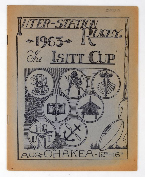 Archive document. Programme for the Isitt Cup rugby competition, held at RNZAF Ohakea in August 1963.