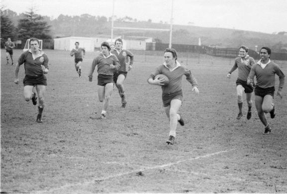 Rugby match between RNZAF Base Auckland and crew members from HMS Achilles at RNZAF Base Whenuapai.