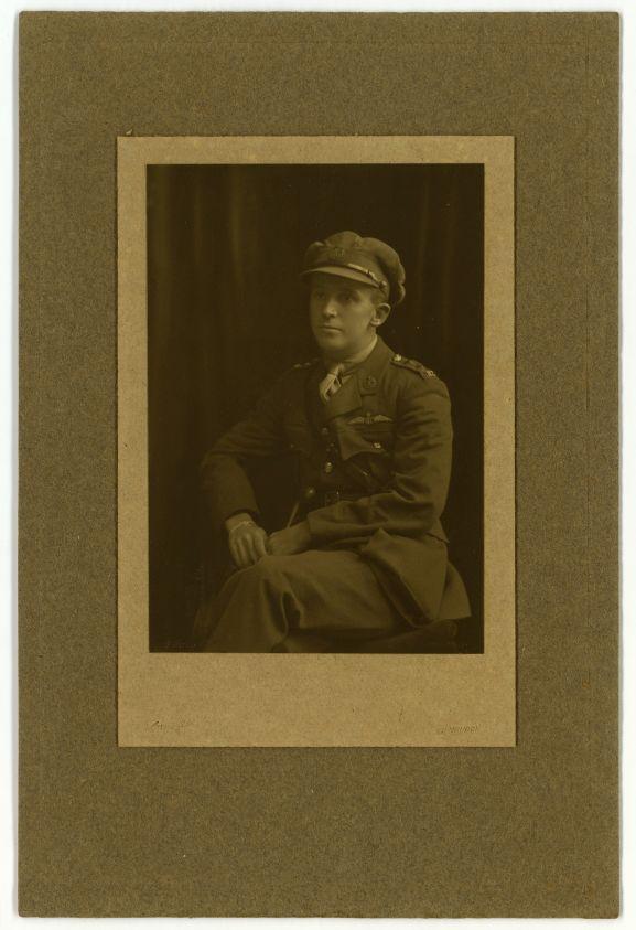 Studio portrait of Captain Harry Leese RFC/RAF, c 1918.