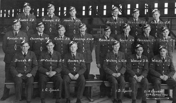 Group. Number 21a Pilots course, No. 1 Elementary Flying Training School, RNZAF Station Taieri. L-R: Back; JR Kingan, RJ Glennie, HD Hampton, HA Mullins, NBH Newton, JR Rodgers. Middle; MD Knight, NR Crompton, AS Clark, RWP Cameron, AL Rankin, JA Scott, GK Paterson, TG Smith. Front; A Divers, JA McConnell, WE Davers, LGH Wilson, DR Warlow, AG Wigley.
