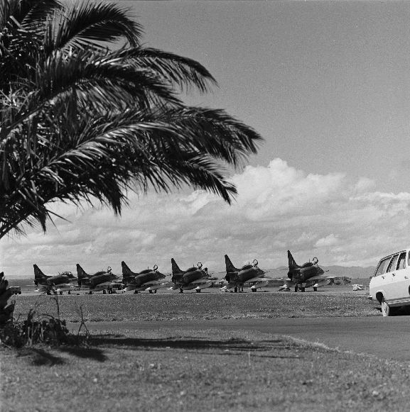 Line up of No. 75 Squadron Skyhawks on the tarmac at RNZAF Base Ohakea. L-R: NZ6251, NZ6210, NZ6203, NZ6204, NZ6201, NZ6202.