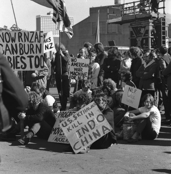Group of protesters picketing the arrival of the new Skyhawk fleet in Auckland