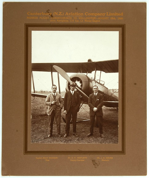 Three men involved with the first aerial crossing of Cook Strait on 25 August 1920. L-R: Euan Dickson (Chief Pilot), C.H. Hewlett (Deputy Chairman), J.E. Moore (Chief Mechanic). From the collection of the Air Force Museum of New Zealand.