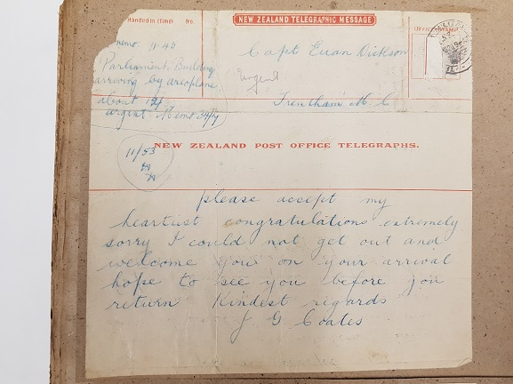 Telegram of congratulations from Minister of Public Works (later, Prime Minister) and aviation enthusiast, Joseph Coates, to Captain Euan Dickson on his Cook Strait Crossing, 25 August 1920. From the collection of the Air Force Museum of New Zealand.
