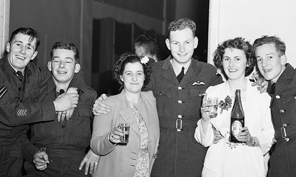Airmen and friends celebrating at the Victory Ball at RNZAF Station Rongotai, September 1945.