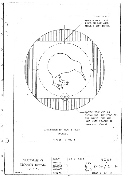 Official RNZAF kiwi application drawings, 30 September 1970. RNZAF Official