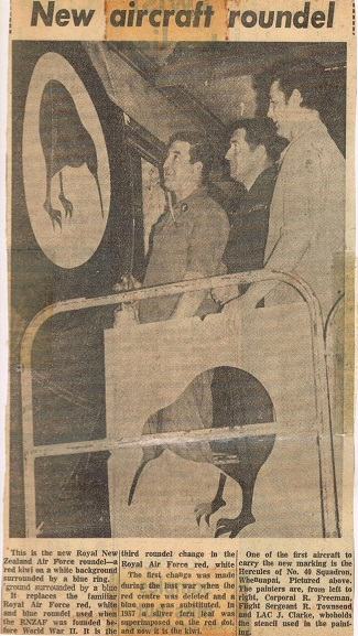 Newsclipping from the Air Force Museum archives, regarding the newly applied kiwi roundel.