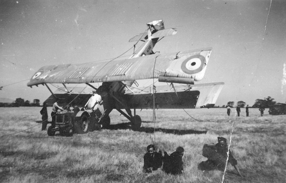 Salvage party with the wreck of Vildebeest NZ102 at Wigram, 23 February 1939. Image ref ALB20084682034, Air Force Museum of New Zealand.