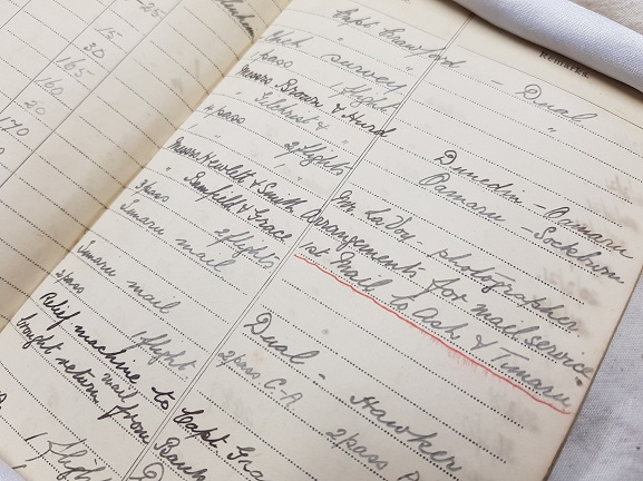 Page from Canterbury (NZ) Aviation Company Chief Pilot Euan Dickson's log book, showing the entry for the first scheduled air mail flight on 31 January 1921. From the collection of the Air Force Museum of New Zealand.