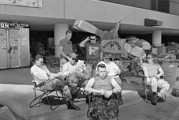 RNZAF personnel relaxing in 'Kiwi Korner' at King Khalid International Airport, Riyadh, Saudi Arabia. Operation Fresco, Feb-Mar 1991. Image ref PD20-19-91, RNZAF Official.