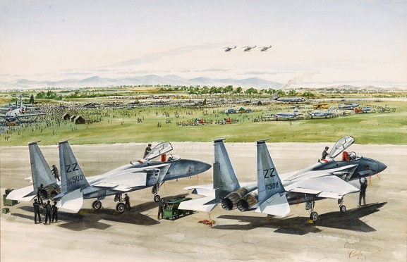 Watercolour – 'Air Force Day 1981' by Wing Commander Maurice Conly. Artwork depicts the two United States Force F-15 aircraft on the tarmac at the Open Day: F-15c 780500 (left) and F15c 780508 (right) both from the 67th Fighter Squadron, 5th Air Force USAF. From the collection of the Air Force Museum of New Zealand.