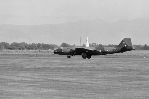 RAAF Canberra A84-229 taxiing for a flying display at Air Force Day '81, Ohakea. Image ref OhG485-81, RNZAF Official.