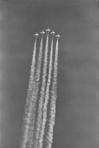 No. 75 Squadron aerobatic team performing a formation flying display at Air Force Day '81. Image ref OhG486-81, RNZAF Official.