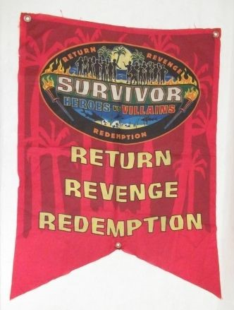 Red nylon flag for the television series