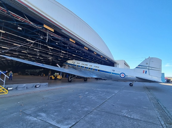 Dakota NZ3551 being wheeled out of the Aircraft Hall for the first time in more than 30 years. 3 May 2021. Image: Air Force Museum of New Zealand.